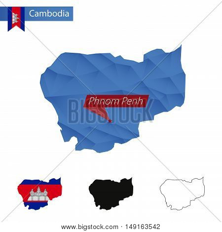 Cambodia Blue Low Poly Map With Capital Phnom Penh.