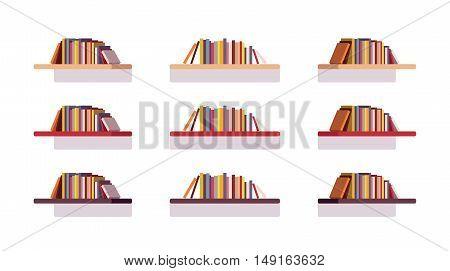 Set of retro flat bookshelves isolated against white background. Cartoon vector flat-style illustration