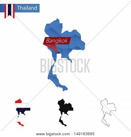 Thailand Blue Low Poly Map With Capital Bangkok.