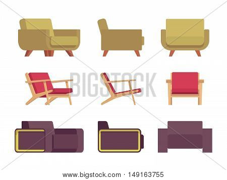 Set of armchairs isolated against white background. Cartoon vector flat-style illustration