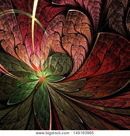 Asymmetrical fractal flower in stained-glass window style. You can use it for invitations notebook covers phone cases postcards cards wallpapers and so on. Artwork for creative design.