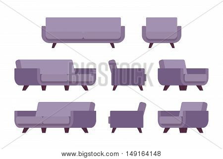 Set of retro lilac sofa and armchair isolated against white background. Cartoon vector flat-style illustration