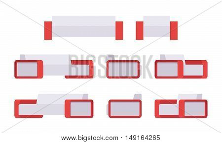 Set of modern white sofa and armchair isolated against white background. Cartoon vector flat-style illustration