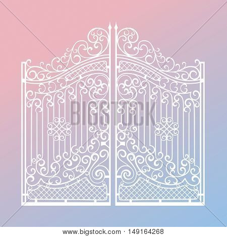 Beautiful iron ornament gates on 2016 year Pantone color mix (Rose Quartz and Serenity) gradient background
