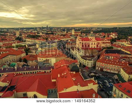 Vilnius, Lithuania: aerial top view of the old town in the sunset