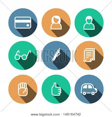 Flat outline vector business multicolor (orange, green, blue) icons set