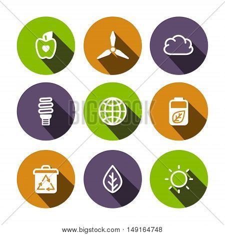 Flat outline vector eco multicolor (green orange purple) icons set
