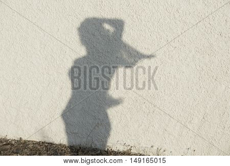 Silhouette of woman figure on natural wall background.Women figure on a wall, artistic photo. Contrast, silhouette of girl figure on sunny day. Woman figure