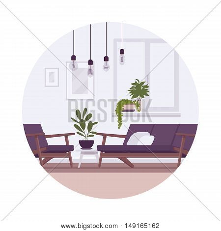 Retro interior with lamps, sofa, armchair, plants in a circle. Cartoon vector flat-style illustration