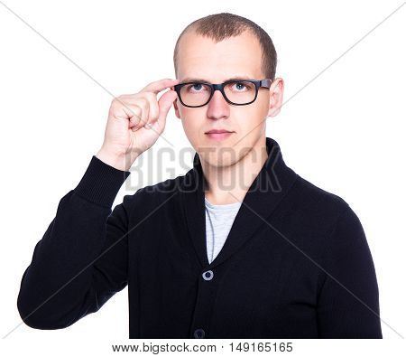 Portrait Of Young Handsome Man In Glasses Isolated On White