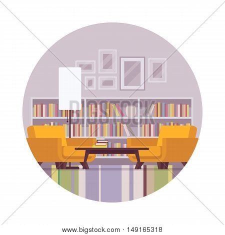 Retro interior with boocase, lamp, table, armchair in a circle. Cartoon vector flat-style illustration