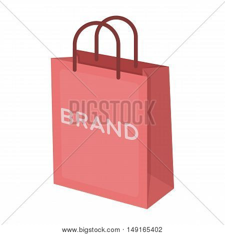 Shopping bag icon in cartoon style isolated on white background. E-commerce symbol vector illustration.