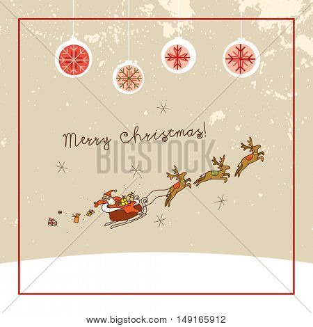 Santa Claus, Merry Christmas greeting card. Sketchy doodle style hand drawn seasonal vector illustration.