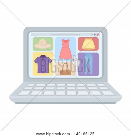 Online shopping icon in cartoon style isolated on white background. E-commerce symbol vector illustration.