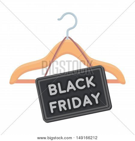Black friday sale icon in cartoon style isolated on white background. E-commerce symbol vector illustration.