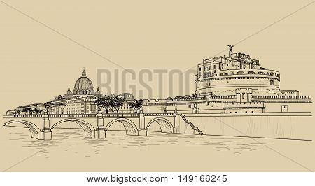 Rome riverside cityscape with bridge and St. Peter's Basilica. Italian city famous landmark Saint Angel Castle skyline. Travel Italy engraving. Rome architectural city background with lettering