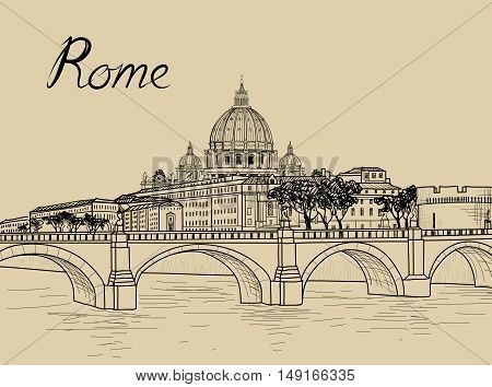 Rome cityscape with St. Peter's Basilica. Italian city famous landmark cathedral skyline. Travel Italy engraving. Rome architectural city background with lettering