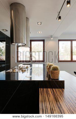 Black Countertop In Kitchen