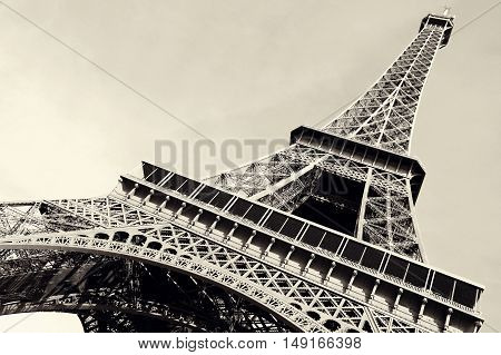 France. Eiffel Tower - the symbol of Paris toned in retro style.