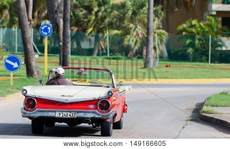 Varadero, Cuba - September 11, 2016:  classic car on the streets of Varadero