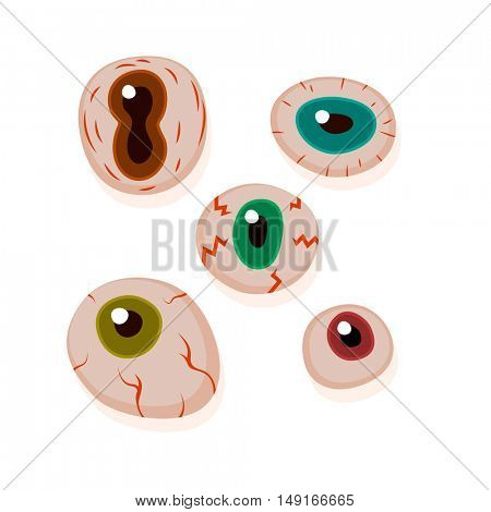 Eyeballs with bloody streaks. appy Halloween design elements in cartoon and Flat design.