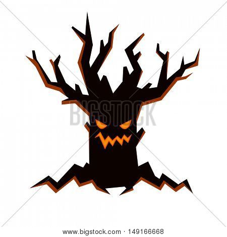 Black evil tree with scary smiling face, fire inside and bare branches. Halloween character in flat style