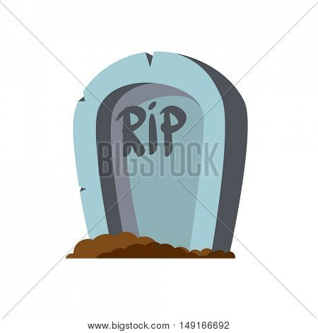 RIP. Cartoon grave in flat style with ground isolated on white background