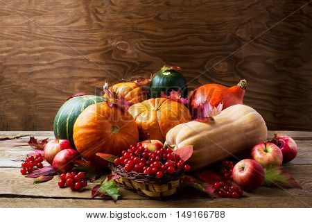Abundant harvest concept with pumpkins apples berries and fall leaves. Thanksgiving background with pumpkins and seasonal berries. Copyspace