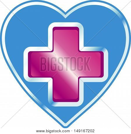 The clinic's sign in the shape of a heart with a cross in the center