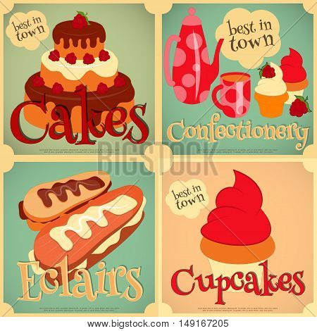 Sweet Cakes Retro Card. Cover Confectionery Menu. Vector Illustration.
