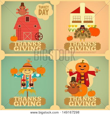 Happy Thanksgiving Greeting Card. Set of Vintage Turkey Day Mini Posters. Turkey Scarecrow and Pumpkin. Square Format. Vector illustration.