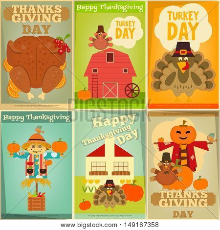 Happy Thanksgiving Greeting Card. Set of Vintage Turkey Day Mini Posters. Turkey Scarecrow and Pumpkin. Vector illustration.