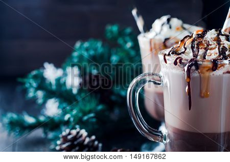 Cup Of Hot Cocoa Or Coffee For Christmas With Whipped Cream