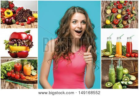 The collage of young beautiful woman with vegetable salad. Detox diet