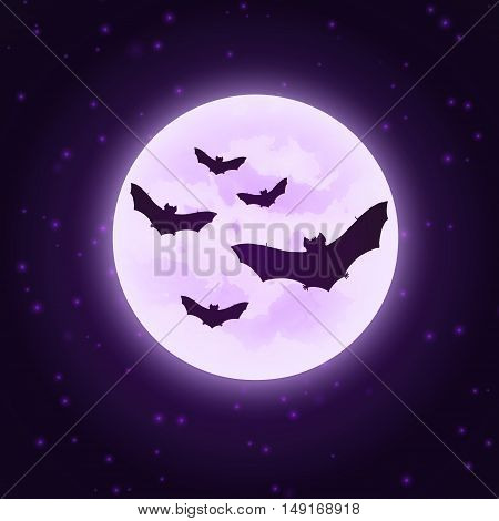 Vector bats with moon. Silhouettes bats on night sky. Dark purple image. Halloween illustration.