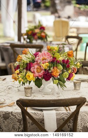 elegant table setting with flowers for wedding reception
