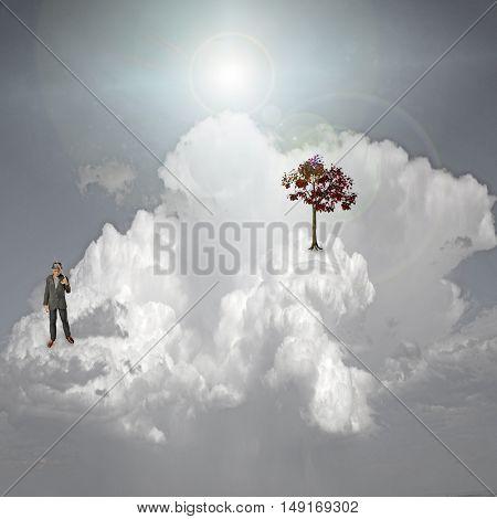 Scene on cloud 3D Render