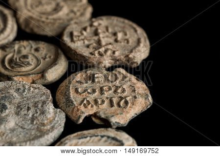 Ancient Post Seals Made Of Lead On Black Background
