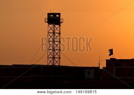 Silhouette of Prison Watchtower - at Africa