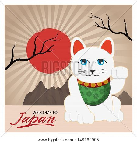 Lucky cat icon. Welcome to japan and asian culture theme. Colorful design. Vector illustration