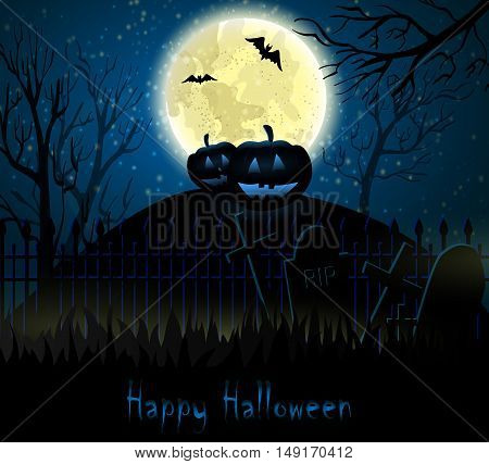 Halloween spooky background with moon fence and pumpkins. Vector