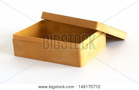 Beige plastic box on a white background