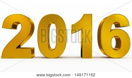 year 2016 golden numbers isolated on white