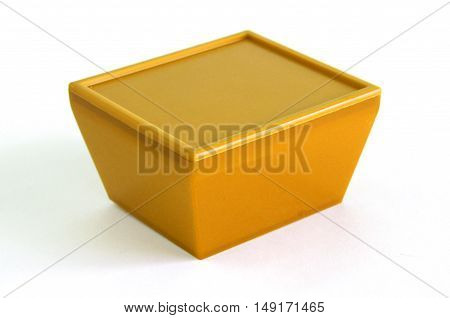 Brown plastic box on a white background