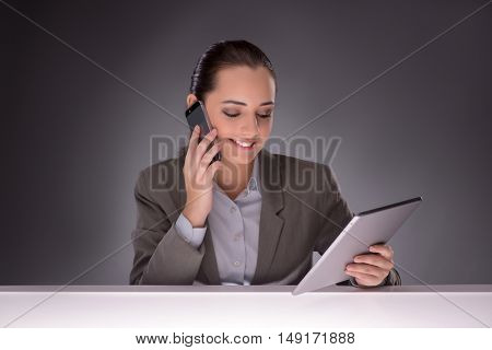 Young businesswoman working with tablet computer