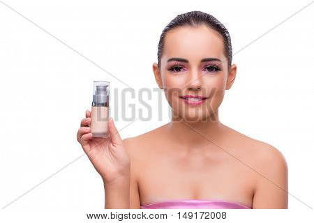 Woman with cream isolated on white background