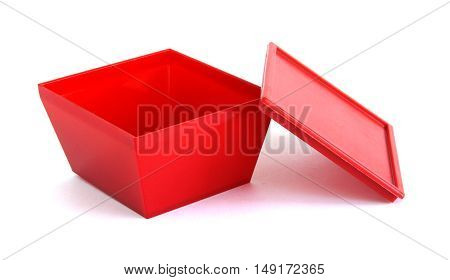Red plastic box on a white background
