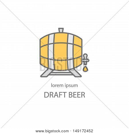 Wooden barrel with a tap line icon. Beer or wine logos design templates for all kinds of beer-related companies. Line vector collection of beer and brewing process.