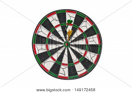 Two darts on a dartboard. One in the center second the other off center. Isolated on white background.