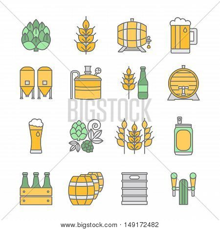 Big set of color thin line icons of brewery and different beer symbols for pub, bar or other brewing related business isolated on background. Vector illustration. Octoberfest icon series.